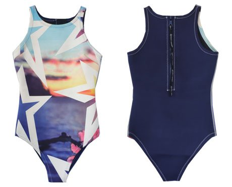 Neoprene Ladies One Piece Swimsuit-1872-Sunset