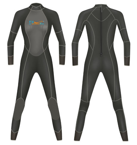 Neoprene Womens Full Body Surf Suit-1804-BK/GY