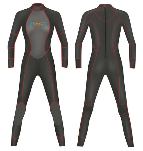 Neoprene Ladies Full Body Surf Suit-1804-BK/RD