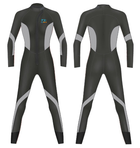 Neoprene Womens Scuba Diving Suit-1808-BK/GY