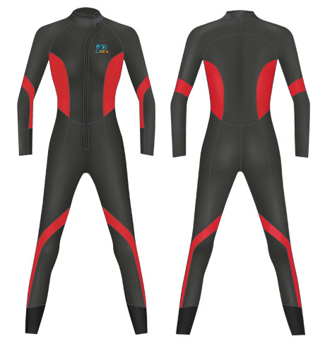 Neoprene Ladies Scuba Diving Suit-1808-BK/RD