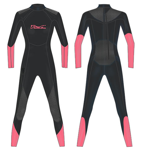 Neoprene Ladies Scuba Suit-1812-BK/PK