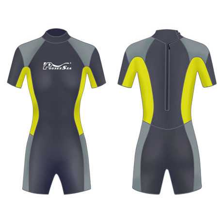 Neoprene Womens Surf Suit-1854-BK/YL