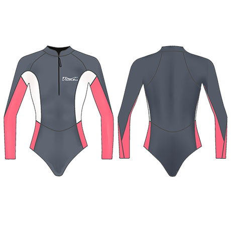 Neoprene Ladies Long Sleeve Surf Suit-1857-BK/PK