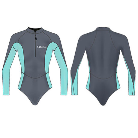 Neoprene Womens Long Sleeve Surf Suit-1857-BK/TUR