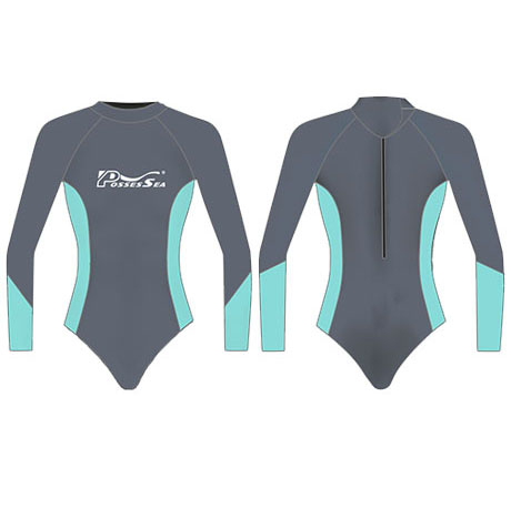 Neoprene Womens Long Sleeve Surf Suit-1858-BK/TUR