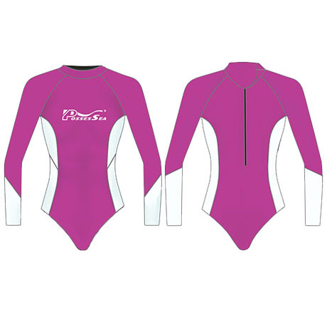 Neoprene Girls Long Sleeve Surf Suit-1858-PK/WT