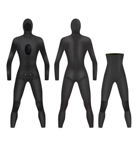 Neoprene Mens 2-Piece High Waist Pants Spearfishing Wetsuit-1891-BK