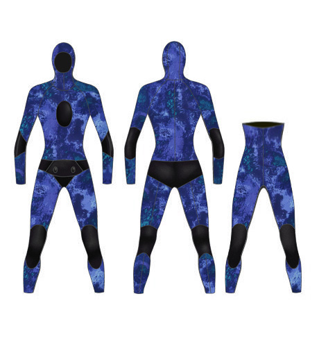 Neoprene Mens 2-Piece Camo High Waist Pants Spearfishing Wetsuit-1891-CAMO