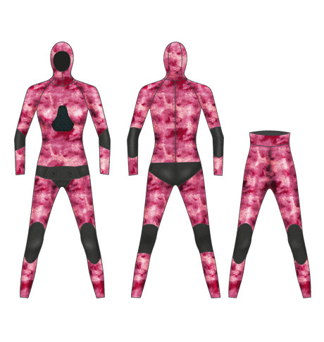 Neoprene Ladies 2-Piece Camo High Waist Pants Spearfishing Wetsuit-1892-CAMO
