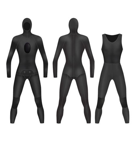 Neoprene Mens 2-Piece Farmer John Spearfishing Wetsuit-1893-BK