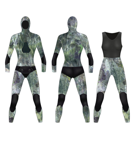 Neoprene Womens 2-Piece Camo Farmer John Spearfishing Wetsuit-1894-CAMO