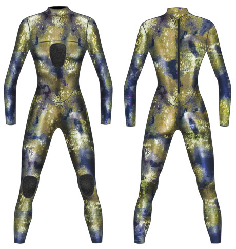 Neoprene Mens 1-Piece Camo Spearfishing Suit-1895-CAMO-2