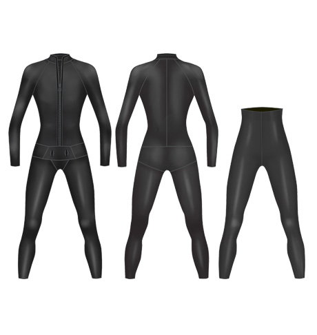 Neoprene Mens 2-Piece Classic Freediving Suit-1901-BK