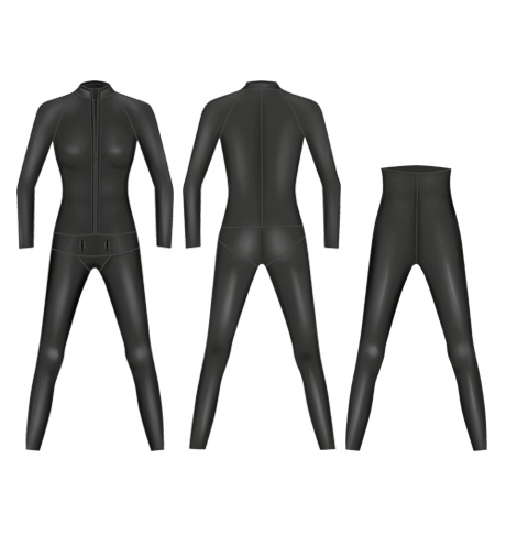 Neoprene Womens 2-Piece Classic Freediving Suit-1902-BK