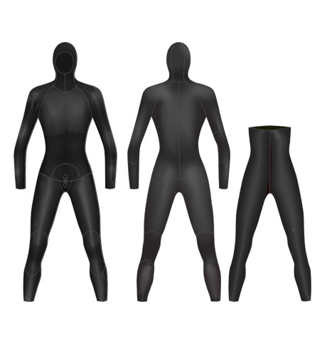 Neoprene Mens 2-Piece Hooded Freediving Wetsuit-1903-BK