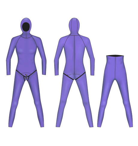 Neoprene Ladies 2-Piece Hooded Freediving Wetsuit-1904-PL